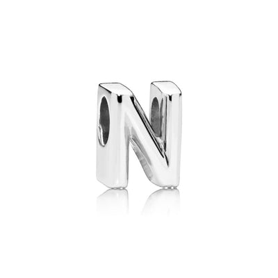 Letter N Charm in Sterling Silver with Heart Pattern - Giorgio Conti Jewelers