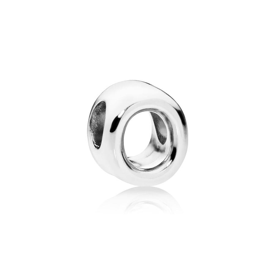Letter O Charm in Sterling Silver with Heart Pattern - Giorgio Conti Jewelers