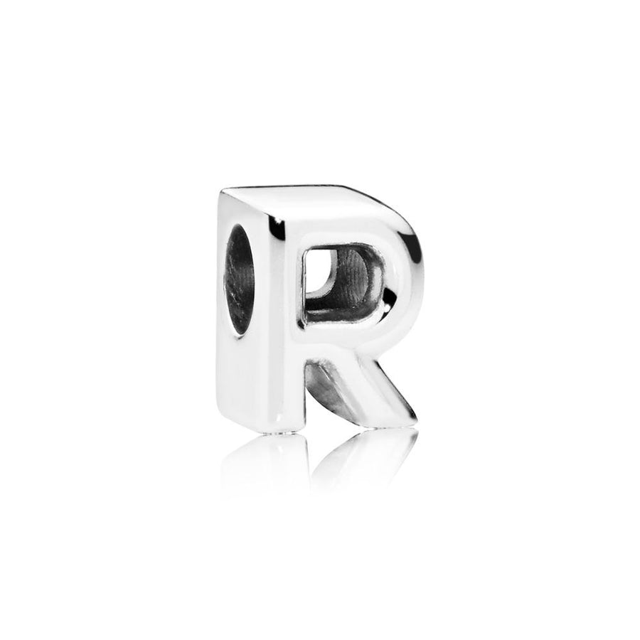 Letter R Charm in Sterling Silver with Heart Pattern - Giorgio Conti Jewelers