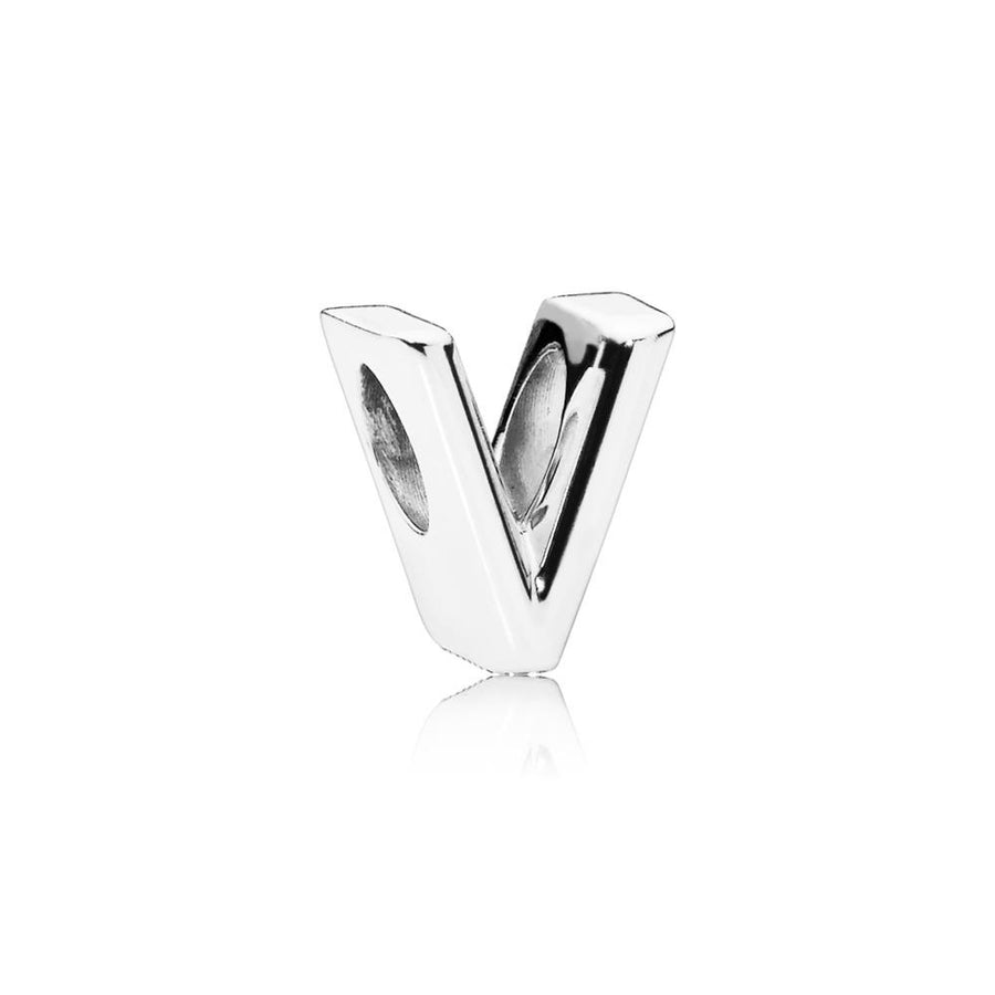 Letter V Charm in Sterling Silver with Heart Pattern - Giorgio Conti Jewelers