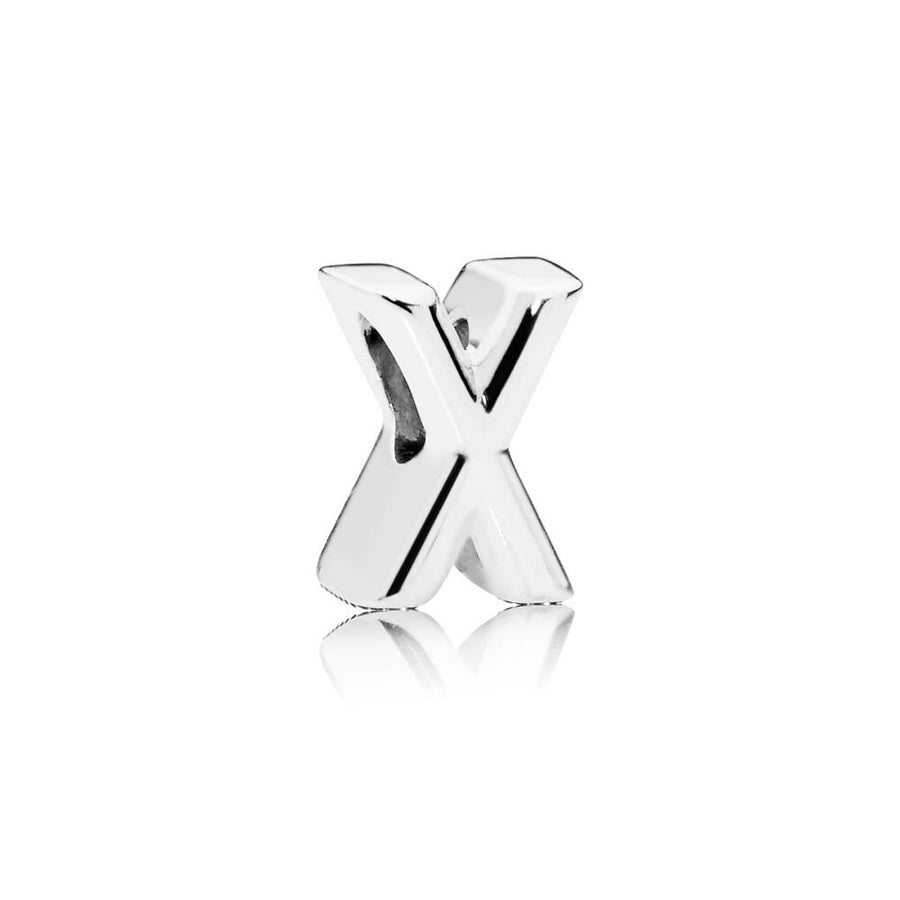 Letter X Charm in Sterling Silver with Heart Pattern - Giorgio Conti Jewelers