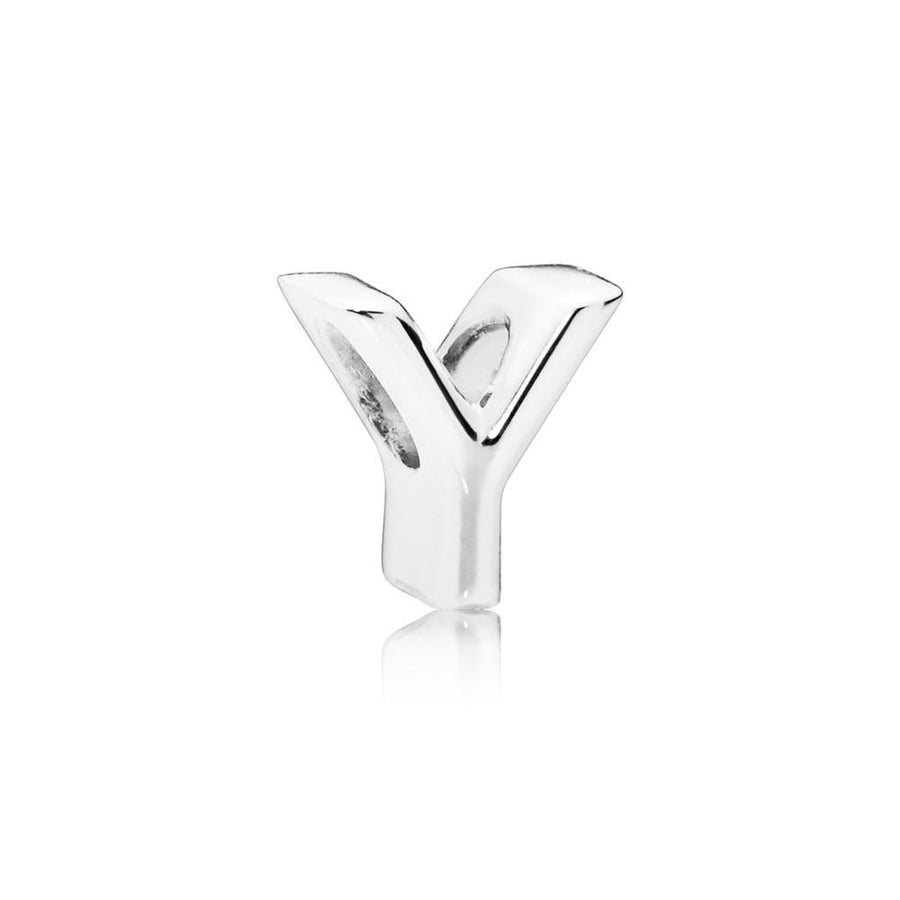 Letter Y Charm in Sterling Silver with Heart Pattern - Giorgio Conti Jewelers