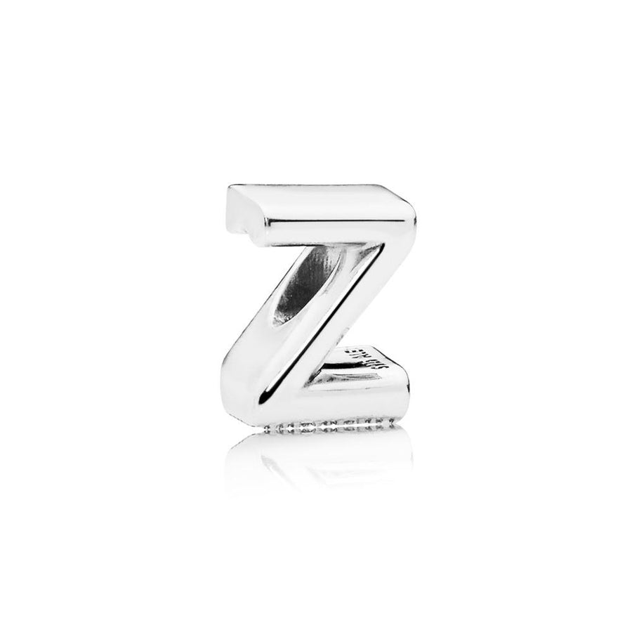Letter Z Charm in Sterling Silver with Heart Pattern - Giorgio Conti Jewelers