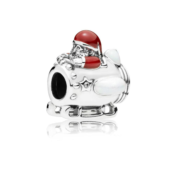 Santa in Spaceship Charm in Sterling Silver with Transparent Venetian Red, Shimmering Silver Enamel and 2 Flush-Set Clear Cubic Zirconia - Giorgio Conti Jewelers