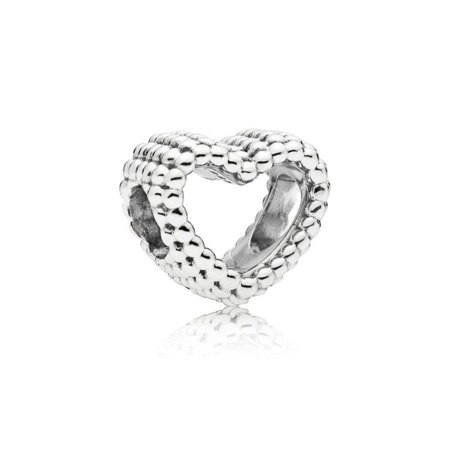 Beaded Heart Charm in Sterling Silver - Giorgio Conti Jewelers