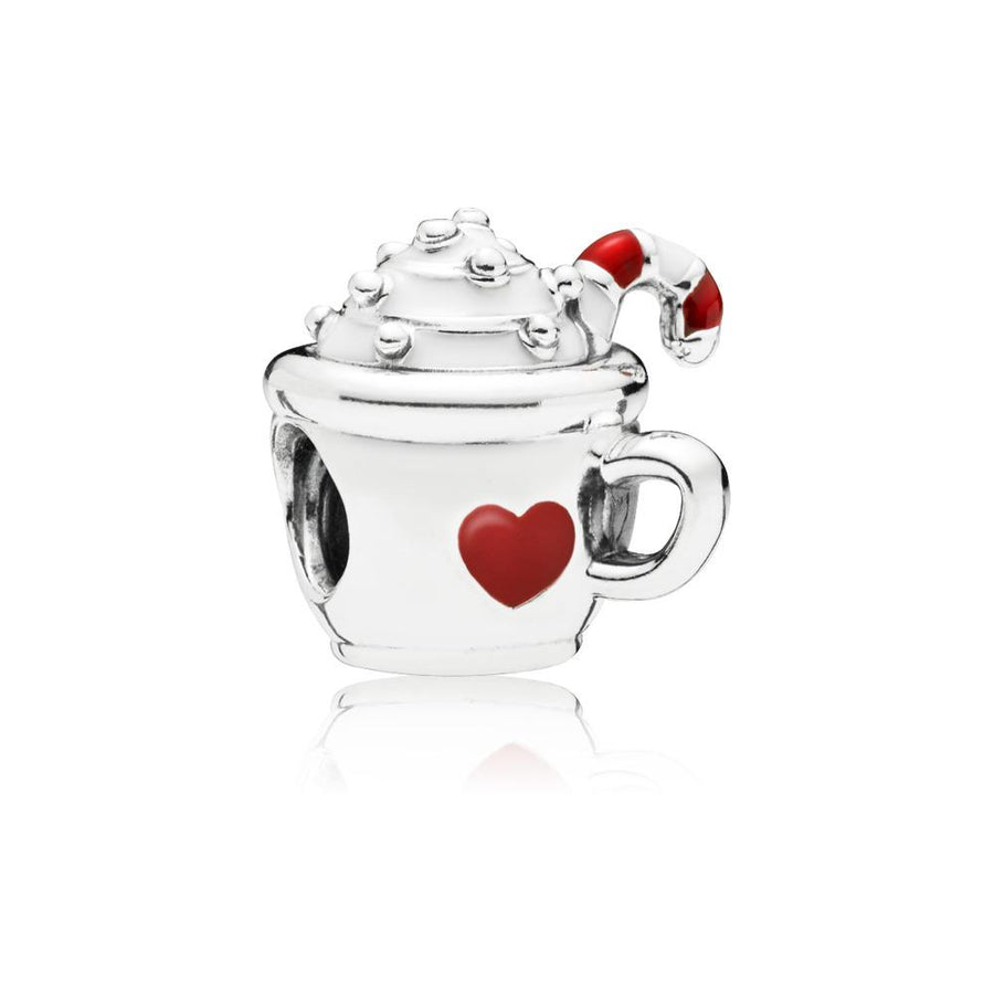 Cocoa Mug Charm in Sterling Silver with White and Transparent Venetian Red Enamel - Giorgio Conti Jewelers