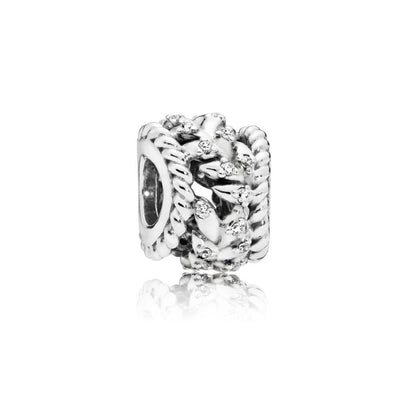 Seeds Charm in Sterling Silver with 28 Bead-Set Clear Cubic Zirconia - Giorgio Conti Jewelers