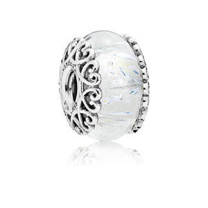 Charm in Sterling Silver with Iridescent and Transparent Murano Glass - Giorgio Conti Jewelers