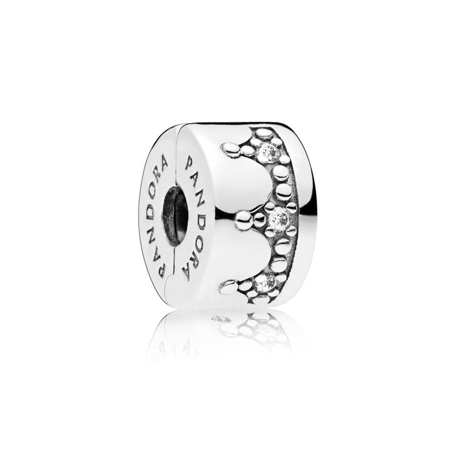 Crown Clip in Sterling Silver with 6 Bead-Set Clear Cubic Zirconia - Giorgio Conti Jewelers