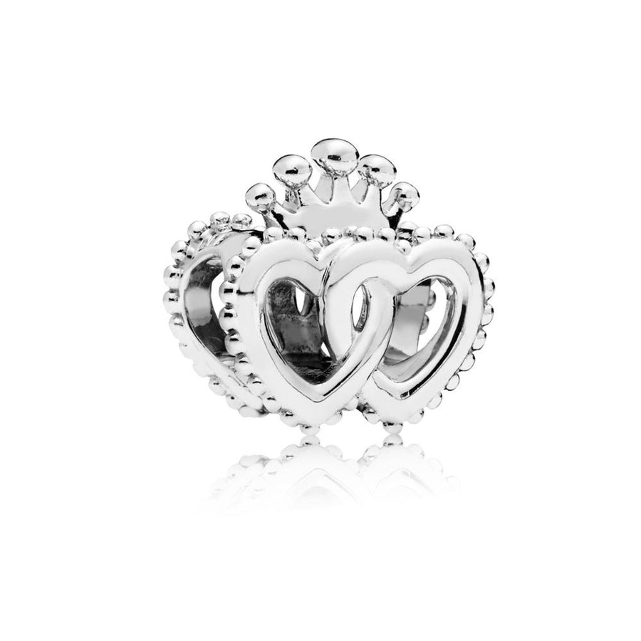 interlocked Crowned Hearts Charm in Sterling Silver - Giorgio Conti Jewelers