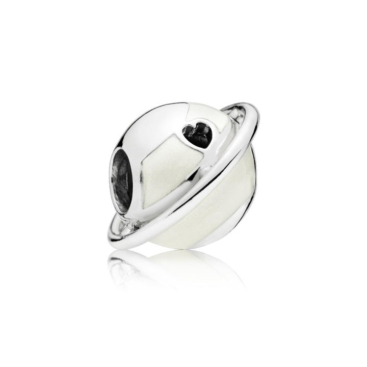 Planet Charm in Sterling Silver with Shimmering Silver Enamel - Giorgio Conti Jewelers