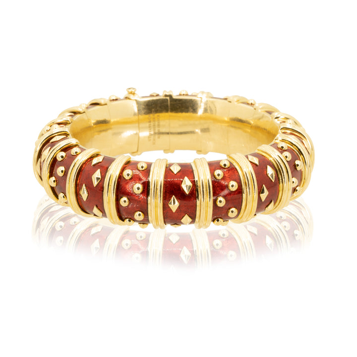 Tiffany & Co. Schlumberger 18KT Yellow Gold Dot Losange Red Enamel Authentic Bangle