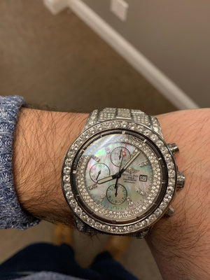 Breitling Super Avenger A77380 Chronograph 25.00CTW Diamond MOP Dial Mens Watch - Giorgio Conti Jewelers
