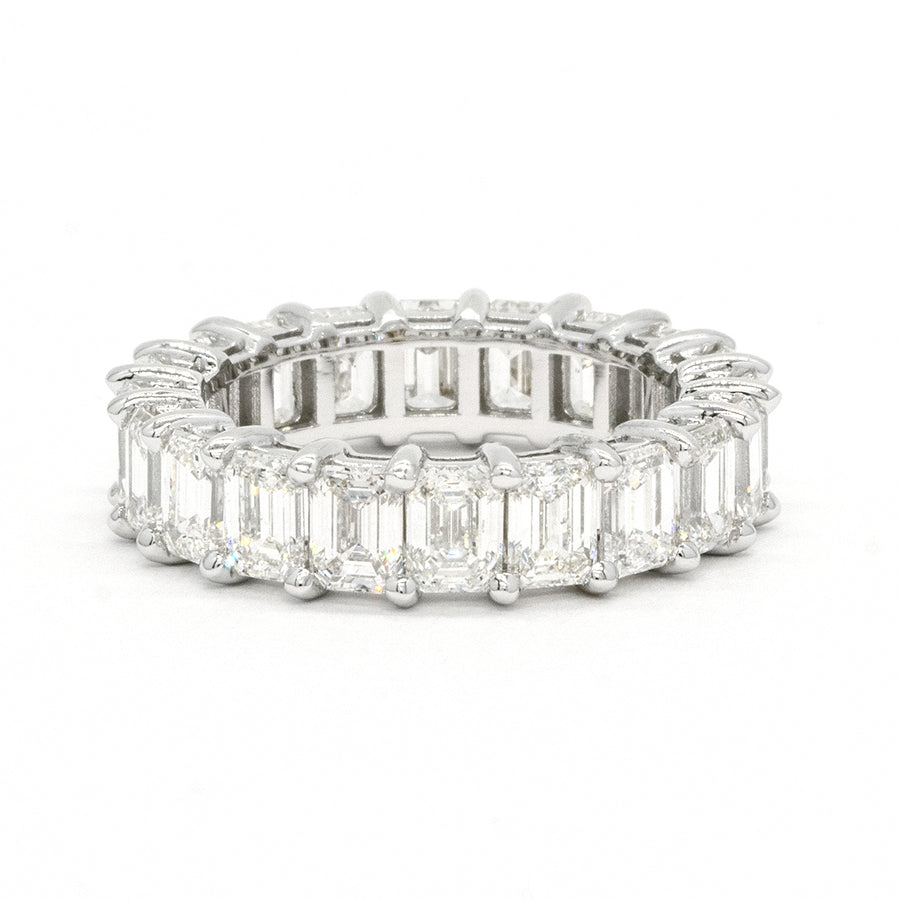 14KT White Gold Emerald Cut Prong Set Natural Diamond Eternity Wedding Band