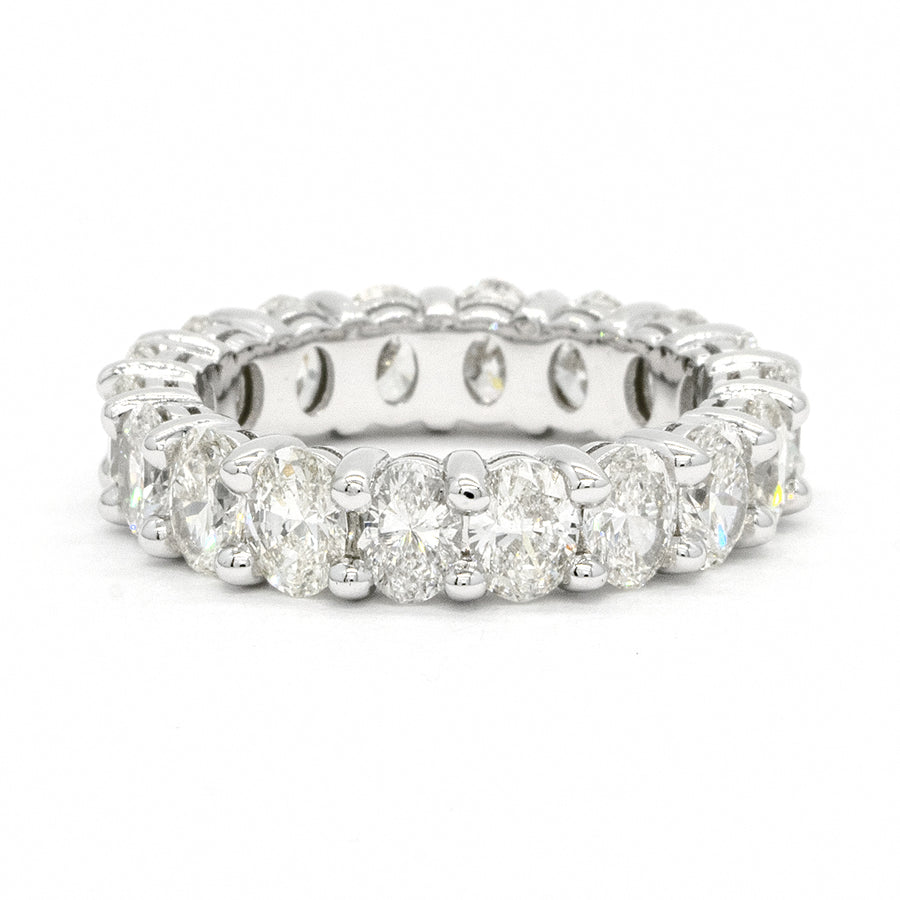 14KT White Gold Oval Cut Prong Set Natural Diamond Eternity Wedding Band