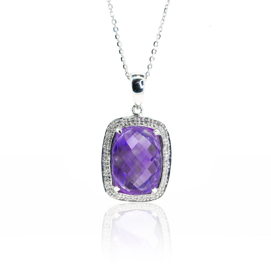 White Gold 8.56 Amethyst and Diamond Statement Halo Pendant Checkerboard Top