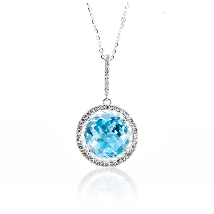 14kt White Gold 6.95ctw Diamond and Natural Blue Topaz Gemstone Statement Pendant White and Champagne Diamonds