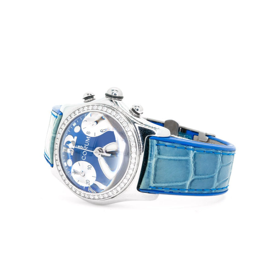 Corum 196.151.47 Bubble Stainless Steel Diamond Bezel Blue Dial Watch - Giorgio Conti Jewelers
