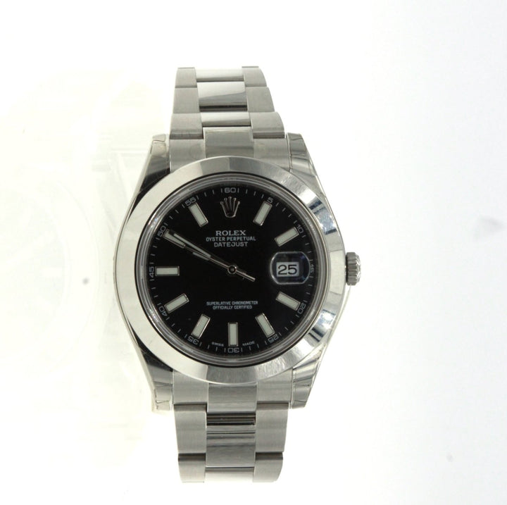 Rolex Datejust II 116300 Stainless Steel Black Dial Mens Watch - Giorgio Conti Jewelers