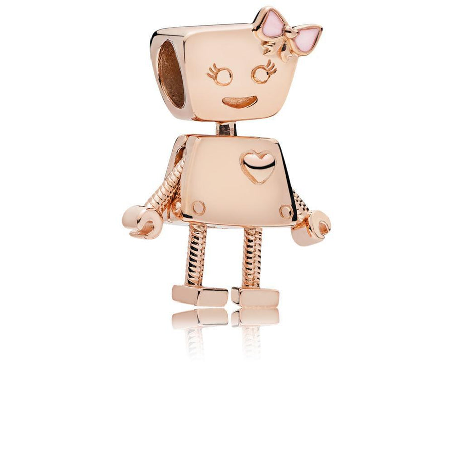 Girl Robot Charm in PANDORA Rose with Transparent Pale Pink Enamel - Giorgio Conti Jewelers