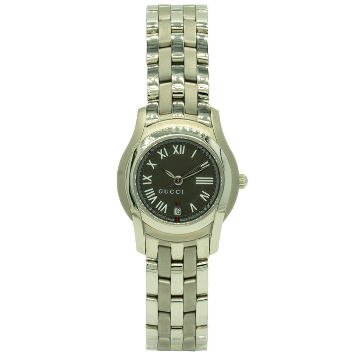 "Gucci 5505 YA055508 27mm Stainless Steel Gray ""G"" Dial Women's Watch - Giorgio Conti Jewelers"