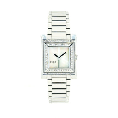 Gucci YA111506 NEW Ladies Factory Double row Diamond Bezel Mother of Pearl Watch - Giorgio Conti Jewelers