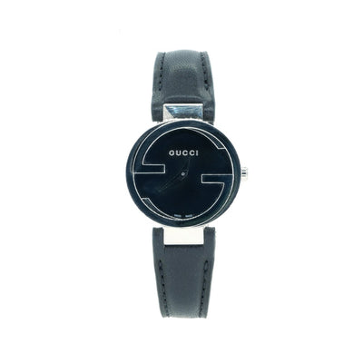 Gucci YA133501 Ladies Interlocking NEW Gucci Watch with Black dial and leather strap - Giorgio Conti Jewelers