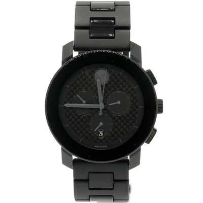 Movado Bold Chronograph 3600171 44mm Stainless Steel Black Carbon Fiber Dial Watch - Giorgio Conti Jewelers