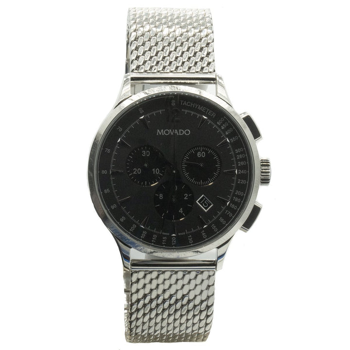 Movado Circa Chronograph 0606803 42mm Stainless Steel Black Dial Watch - Giorgio Conti Jewelers