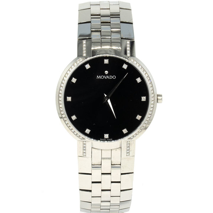 Movado Faceto 0606237 Factory Diamond 38mm Stainless Steel Black Dial Watch - Giorgio Conti Jewelers