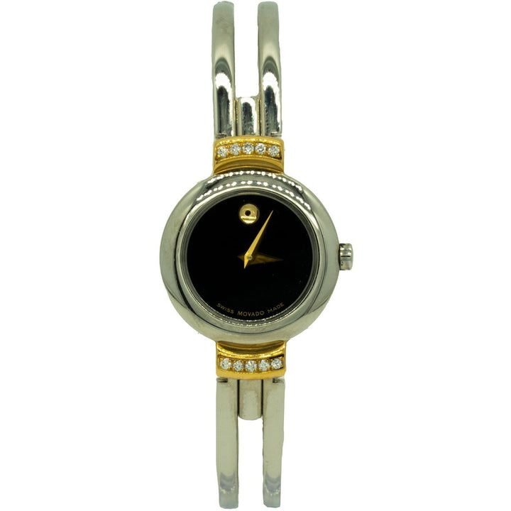 Movado Harmony 0604455 23mm Two Toned Gold Factory Diamond Black Dial Watch - Giorgio Conti Jewelers