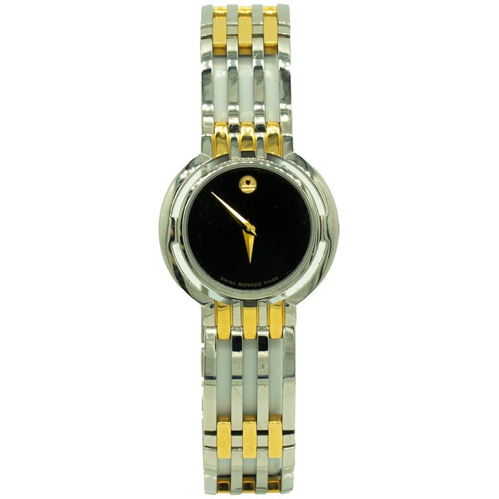 Movado Ladies Esperanza 0605090 26mm Two Toned Gold Black Dial Watch - Giorgio Conti Jewelers