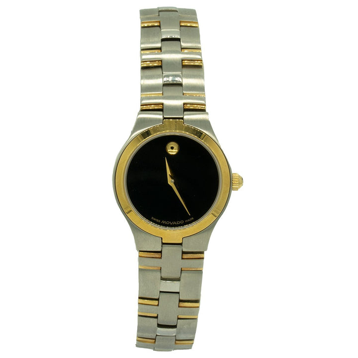 Movado Ladies Juro 0605031 24mm Two Toned Gold Black Dial Watch - Giorgio Conti Jewelers