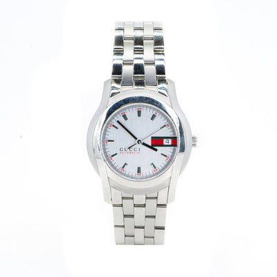 NEW Gucci Automatic YA055205 Watch Silver w/Red Accent Dial, and Date - Giorgio Conti Jewelers