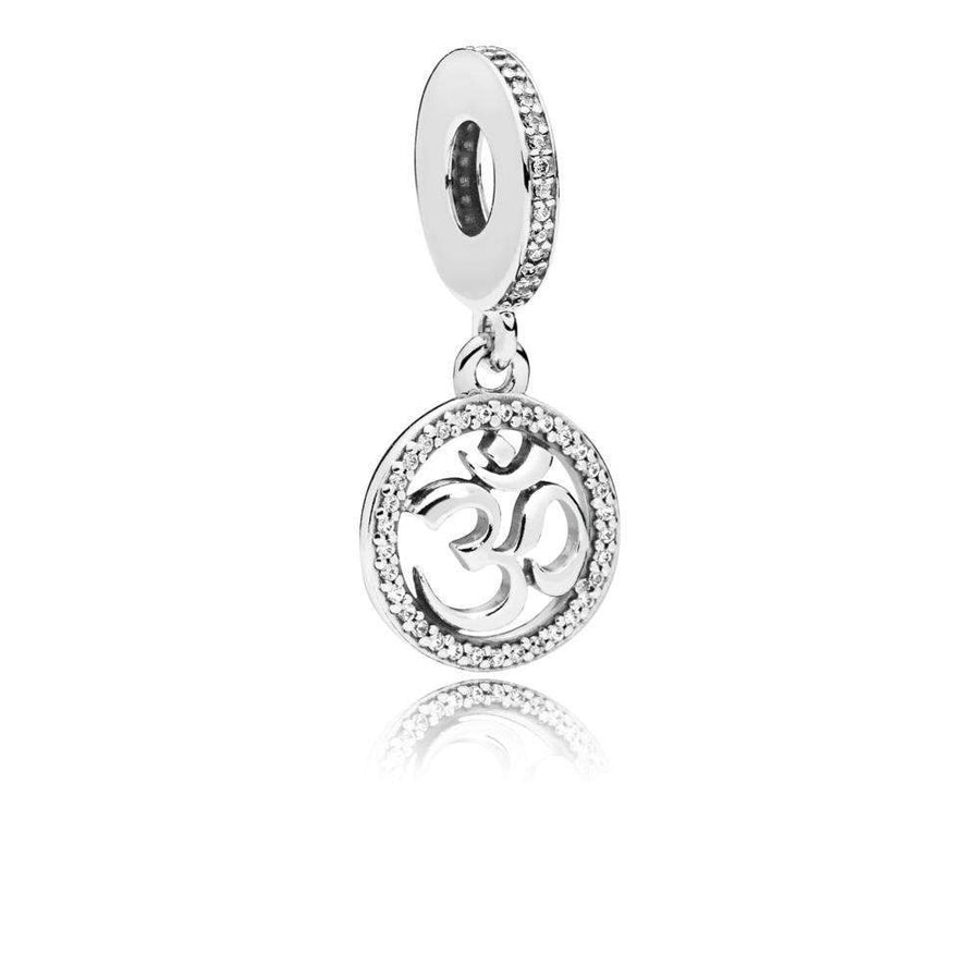 Om Sign Dangle in Sterling Silver with 33 Micro and 23 Bead-Set Clear Cubic Zirconia - Giorgio Conti Jewelers