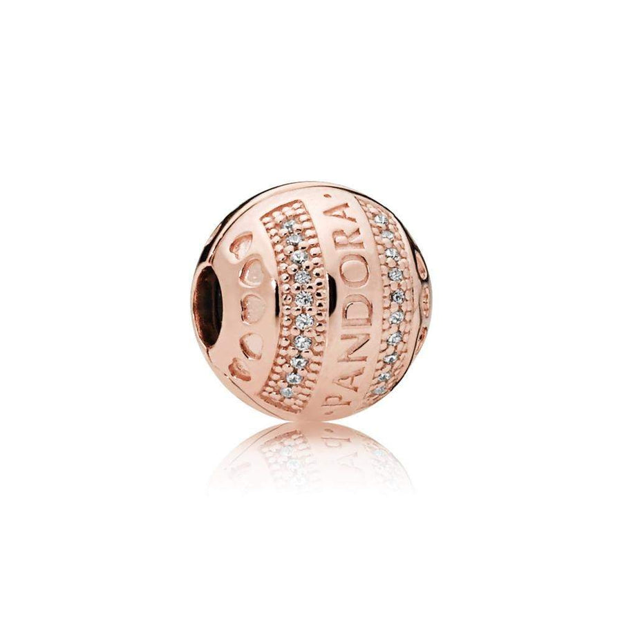 Pandora Logo Clip in PANDORA Rose with 40 Micro Bead-Set Clear Cubic Zirconia and Silicone Grip - Giorgio Conti Jewelers