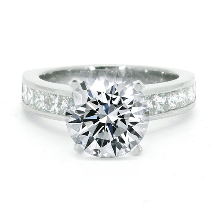Platinum 1.20ctw Round Cut Channel Set Diamond Engagement Ring - Giorgio Conti Jewelers