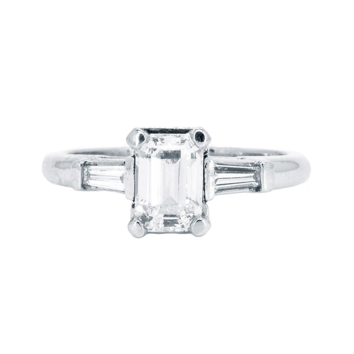 Platinum 1.31ctw NATURAL Emerald Cut with Baguette Accent Diamond Engagement Wedding Ring - Giorgio Conti Jewelers