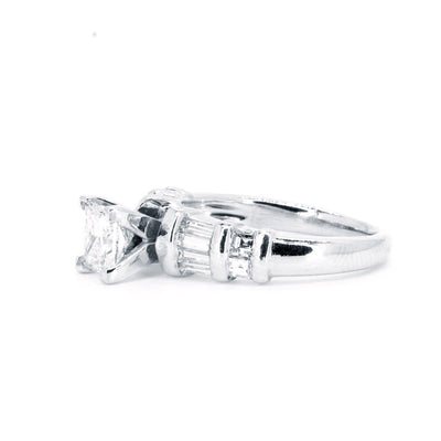 Platinum High Quality Natural 1.20ctw Princess Cut and Baguette Diamond Engagement Wedding Ring - Giorgio Conti Jewelers