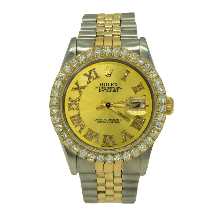 Rolex Datejust 16013 36mm Two Toned 3.00CTW Diamond Champagne Roman Numeral Dial Watch - Giorgio Conti Jewelers