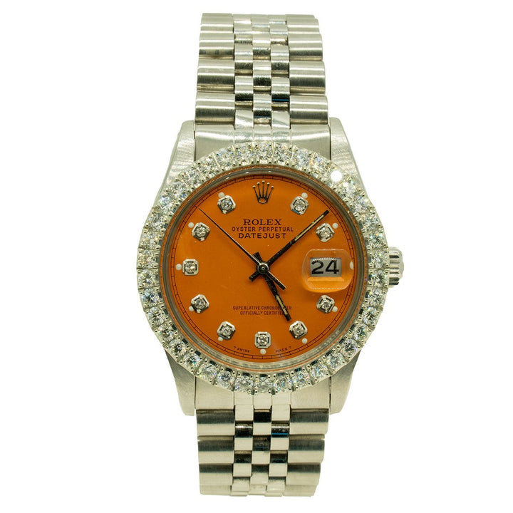 Rolex Datejust 16014 36mm Stainless Steel 3.00CTW Diamond Orange and Diamond Dial Watch - Giorgio Conti Jewelers