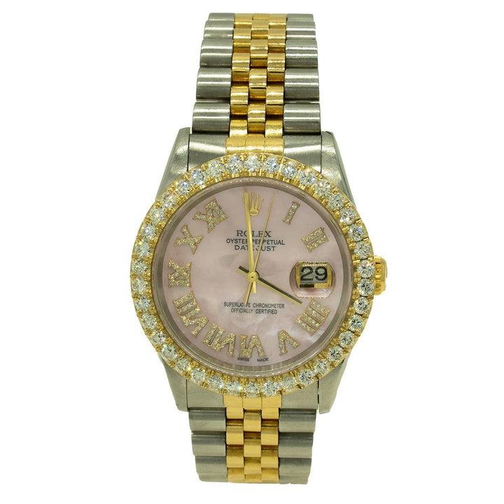 Rolex Datejust 16233 36mm Two Toned 2.75CTW Diamond Pink MOP Roman Numeral Dial Watch - Giorgio Conti Jewelers