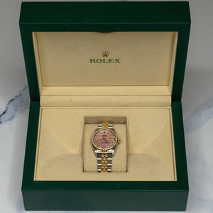 Rolex Datejust 68273 Midsize Two Toned 2.00CTW Diamond Pink MOP Dial Womens Watch - Giorgio Conti Jewelers