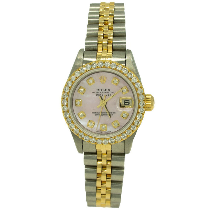Rolex Datejust 69173 26mm Two Toned 1.30CTW Diamond Pink MOP and Diamond Dial Women's Watch - Giorgio Conti Jewelers