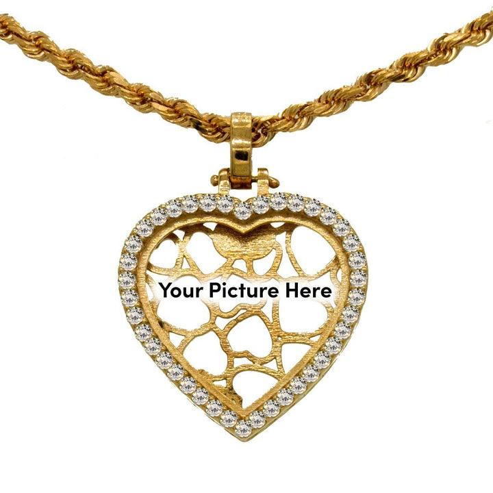 Rose Gold 1.00ctw Round Cut Prong Set Diamond Heart Memory Pendant - Giorgio Conti Jewelers