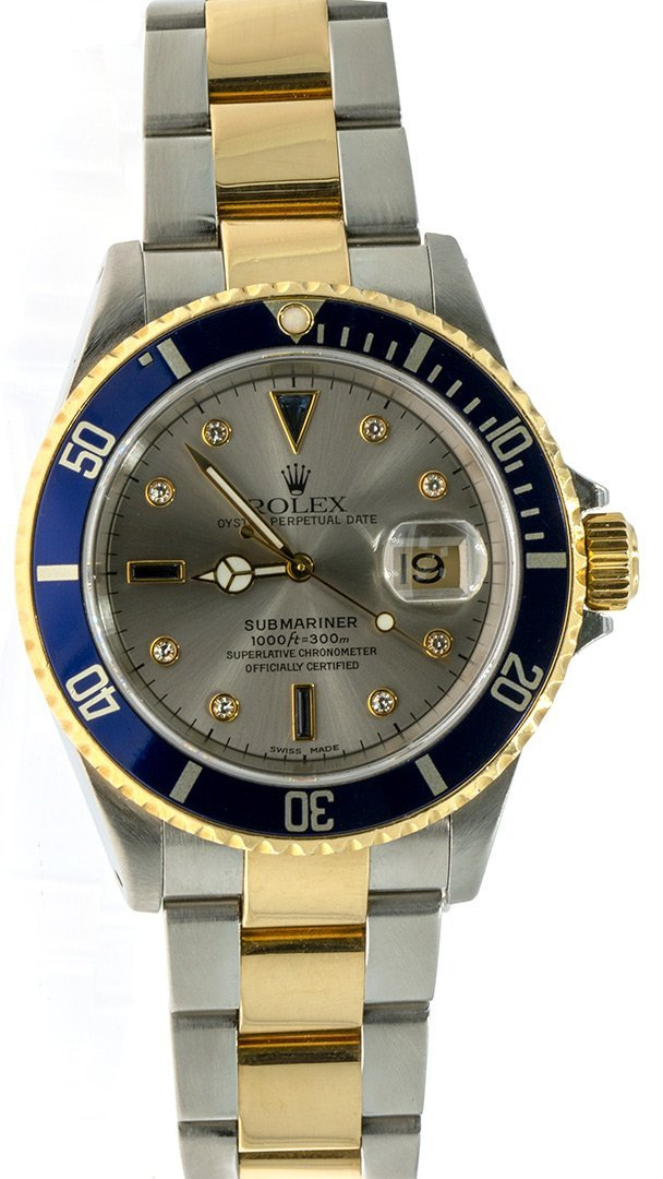 Rolex Blie Submariner 16613 Diamond Serti Dial Gold Buckle Mens Watch - Giorgio Conti Jewelers