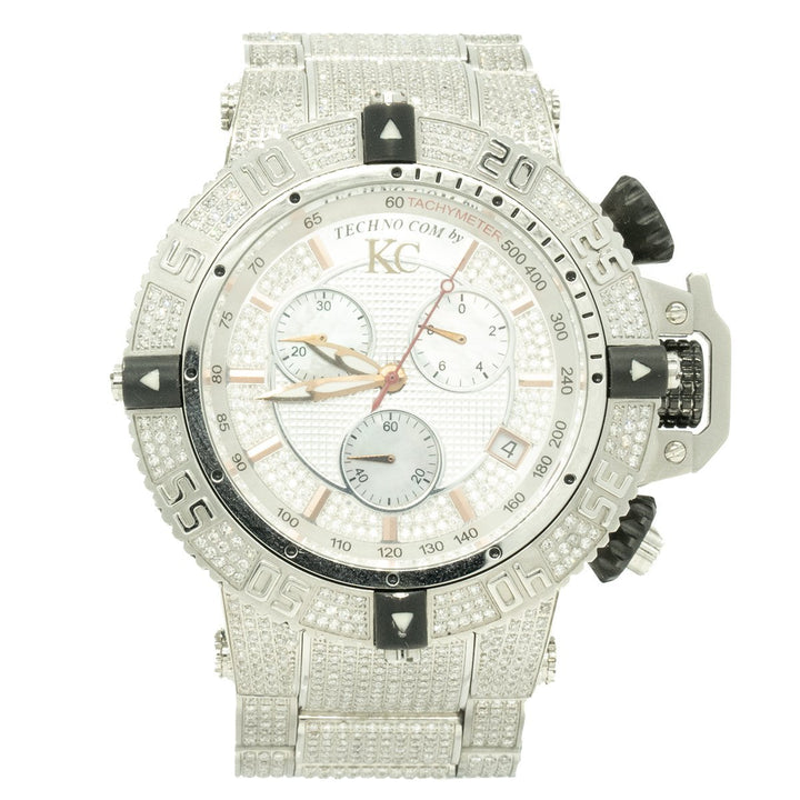 Techno Com. By KC WA002610 50mm Stainless Steel Factory Diamond MOP Chronograph Dial Watch - Giorgio Conti Jewelers