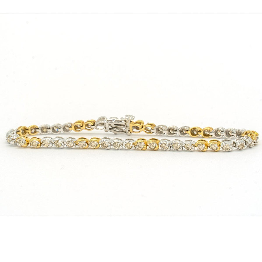 Two Tone White and Yellow Gold 3.00CTW Round Brilliant Cut Natural Diamond Tennis Bracelet - Giorgio Conti Jewelers