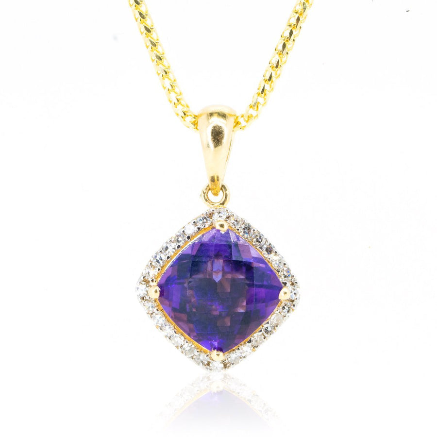 Unique Yellow Gold 2.39ctw Diamond and Natural Amethyst Cushion Shape Necklace Pendant - Giorgio Conti Jewelers
