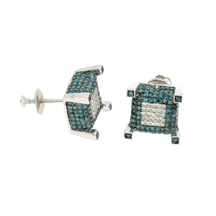 White Gold 1.11ctw Round Cut Pave Set Blue and White Diamond Earrings - Giorgio Conti Jewelers